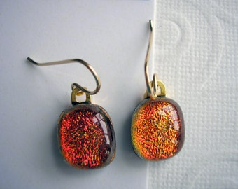 Earrings Dichroic Glass Copper Sparkle 14K Gold Petite Under One Inch Long Fused Kiln Glass Burnt Orange Jewelry Fall Colors Lightweight
