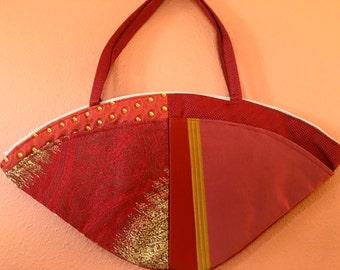 Lu Lu 1322E  Fun, Fan Shaped Purse Made From Four Designer Fabrics, Up Cycled, Red