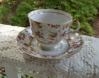 Vintage Chintz Teacup and Saucer by Yada in Japan