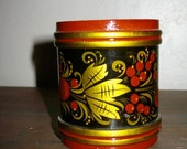Gorgeous Shabby Chic Antique FOLK ART  Russian LacquerWare  Khokhloma Style Cup  Circa The 1950s
