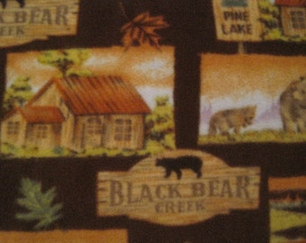 Fleece Blanket of Black Bears in the Woods with Green - Ready to Ship Now