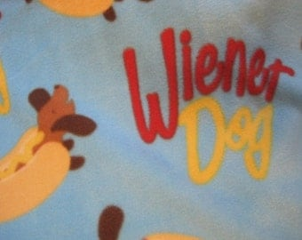 Doxies on Blue with Brown Fleece Blanket - Ready to Ship Now