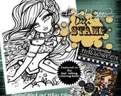 PRINTABLE Digi Stamp Fall Mermaid Ducklings Enchanted Halloween Coloring Page Fun Fantasy Art Hannah Lynn