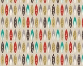Tan Grey Red and Teal Surfboard Fabric, Offshore by Deena Rutter for Riley Blake Design, Surfboard Print in Tan, 1 Yard