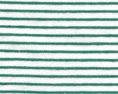 Green and White 1/8 Inch Yarn Dyed Stripe 9 oz Cotton Lycra Jersey Knit Fabric, 1 Yard