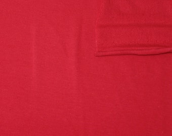 Solid Red 4 Way Stretch French Terry Knit Fabric With Spandex, 1 Yard