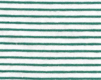 Green and White 1/8 Inch Yarn Dyed Stripe 9 oz Cotton Lycra Jersey Knit Fabric, 1 Yard