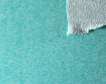Jade Green Heathered French Terry Knit Sweatshirt Fabric, 1 Yard
