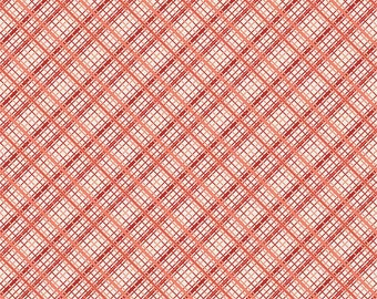 Tonal Red Plaid Fabric, Offshore by Deena Rutter for Riley Blake Design, Plaid Print in Red, 1 Yard