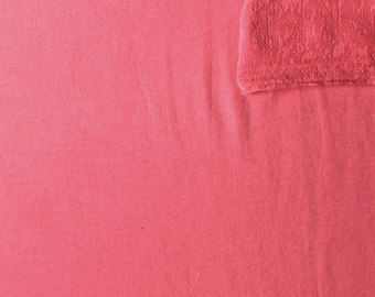 Solid Coral 4 Way Stretch French Terry Knit Fabric With Spandex, 1 Yard