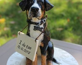 "Custom Wedding handmade clay dog cake topper with ""I do too"" sign"