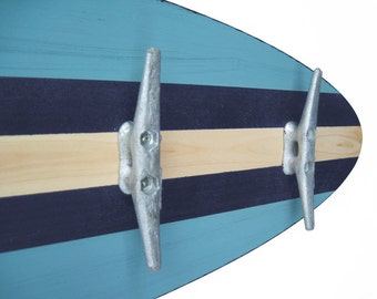 3 Ft Turquoise and Navy Surfboard Coat Rack with 5 Boat Cleats