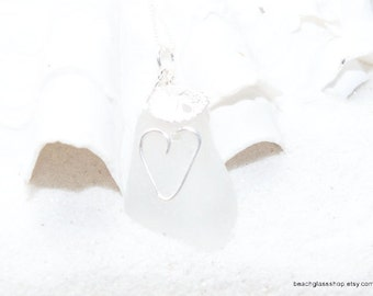 Beach Glass Pendant - Heart Pendant - Sterling Beach Glass Necklace - Lake Erie