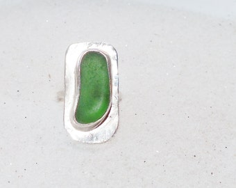 Seaglass Ring - Size 7 Sterling Ring -  Lake Erie Beach Glass - Beach Ring - FREE Shipping inside the United States