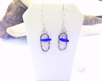 Sea Glass Earrings - Textured Pierced Earrings - Lake Erie Beach Glass - Mermaid Jewelry - FREE Shipping inside the United States
