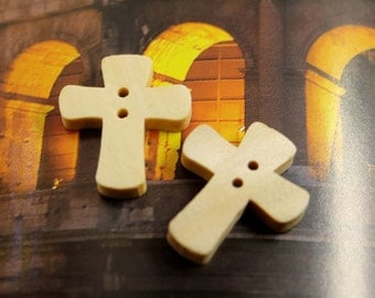 Cross Wood Buttons,  0.79 inch , 10 in a set.