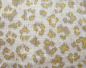 CHEETAH Print  Linen sunshine on cream, designer multipurpose fabric