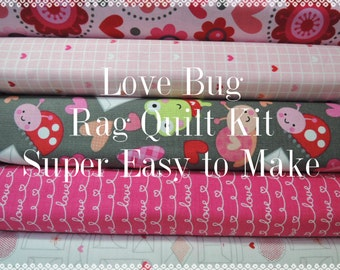 Love Bugs, Kit 2 Rag Quilt Kit,  Easy to Make, Personalized