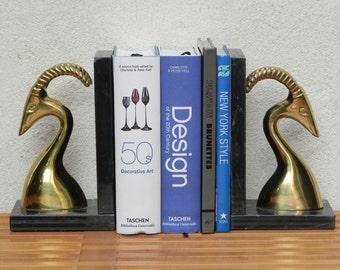 Brass & Marble Gazelle Bookends