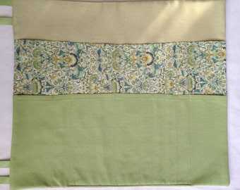 20 Pocket Knitting Needle Case in Green Silk, Robert Kaufman Kona Cotton, Liberty Tana Lawn; or Case for Paintbrushes, Pens, Pencils
