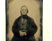 c1860s Full Plate Tinted Tintype of Man Sitting