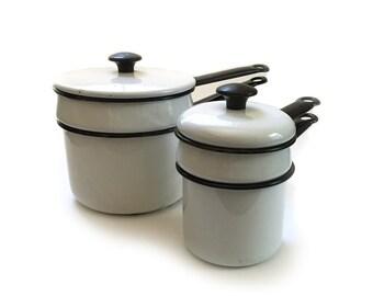 2 Vintage Vollrath Enamelware Double Boilers - 1.5 Cup and 3 Cup - White Enamel Black Trim