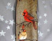 """Cardinal Couple, authentic barnwood, rustic, hand painted, 5 1/4"""" x 12"""""""