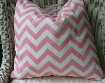 NEW  18 x 18 Pillow Covers Baby pink  Zigzag Fabric Both Sides