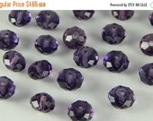 APPRECIATION SALE 20 Pieces of 8mm Faceted Glass Jewelry Beads, Medium Purple Color, Rondelle Shape, 1mm Hole Size