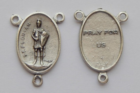 5 Rosary Center Piece Findings - 26mm Long, St. Florian, Pray for Us small, Silver Color Oxidized Metal, Rosary Center, Religious, RC404