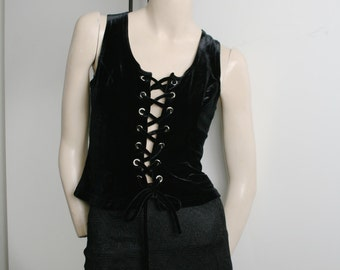 Black Velvet Corset Vest Tank Crop Top Vintage 1990s Grunge Goth