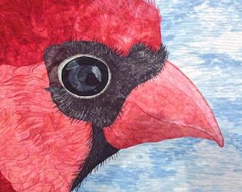 gift for bird lover //Cardinal// art quilt