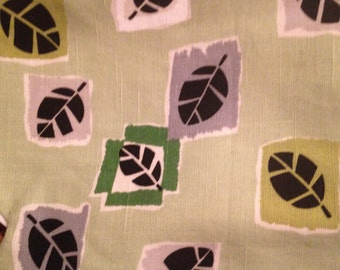 Barkcloth Curtains Cafe Mid Century Modern Green Leaves Tiki Trailer Decor 1950s Windows