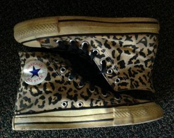 Converse All Star Chuck Taylor Hi Tops Leopard All Star GLOW in the Dark! Vintage 1980s Men's 5 Women's 7