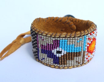 Beaded Chakana Incan Cross, Sun and Moon Cuff Bracelet on Deer Hide