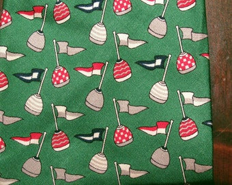 Nautical Tie Ferragamo silk green boating sport Salvatore designer