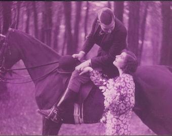 Eggplant Equestrians, 1920s Monochrome Romance by Alfred Noyer