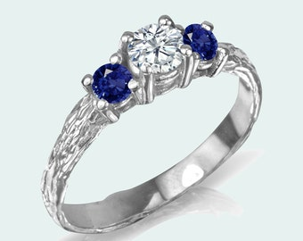 three stone engagement ring ring / twig blue sapphire ring