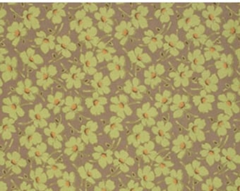ON SALE Gypsy Caravan Moss Daisy Floral Amy Butler Floral  Quilt Fabric by the 1/2 yard #86m