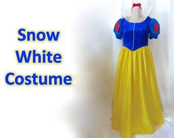 Snow White Costume, satin and velveteen, adult women misses sizes
