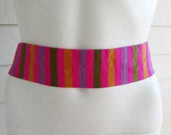 silk cumber bun belt pink green yellow purple stripes Talbott Carmel S-M