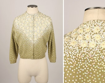 vintage 1950s cardigan • beaded & sequined sweater in light green