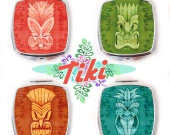 Tiki Mask Compact Mirror, Tropical Compact Mirror, Rockabilly Compact Mirror, Tiki Gift
