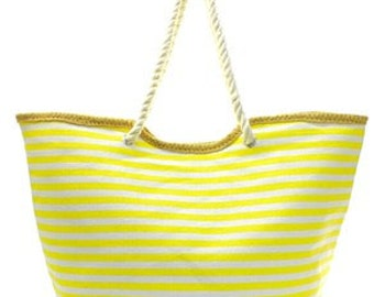 Personalized Stripe tote in Yellow and White. Great for the Beach, Pool, Shopping, Gift