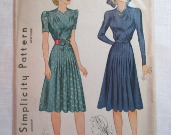 "Antique 1940 Simplicity Pattern #3384 - size 36"" Bust"