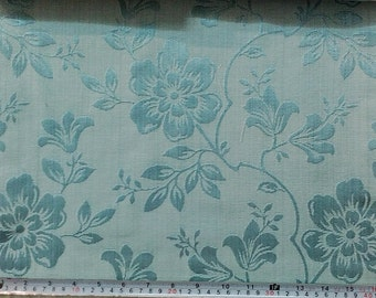 Custom Curtains Valance Roman Shade in Teal Blue in Large Flower Pattern Fabric