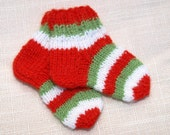 "BLACK FRIDAY ~ CYBER Monday- Waldorf Doll Clothes -Striped Christmas colors socks for foot  3  1/2"" size"