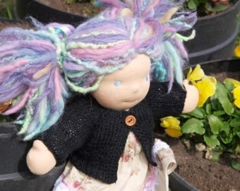 """Waldorf Doll Clothes -Hand knitted Black Sweater , fit 9"""" - 10"""" inch dolls"""