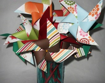 SALE 50% OFF Christmas Neon and Traditional Pinwheels Set of 17 for a Christmas Table or a  Birthday Party or a Baby Shower or a Bat Mitzvah