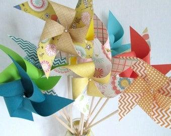 Paper Pinwheels Summer Party Favors Birthday Favors Twirling Pinwheel Birthday Decoration Flower Favors Table Centerpiece Party Decoration